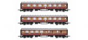 Hornby R4873 LMS Coaches three Pack 'Coronation Scot' Side Stacked View