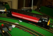 Hornby R2677 Virgin Class 47 Co Co Number 47844 Railroad MRC Digital Sound and DCC fitted Side View on Track