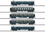 Trix 23219 CIWL Simplon-Orient-Express-Set (5) II (DCC-SOUND) Express Train Passenger Car Set Stacked Side View